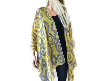 Kimono cardigan - Yellow and gray granite swirls chiffon kimono-Lagenlook Chiffon oversize Kimono-Ruana