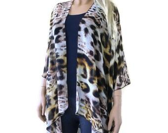 Leopard/cheetah Kimono-Blond brown white-  Kimono Cardigan-Sheer kimono jacket/Ruana -summer collection
