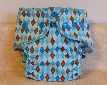 Fitted Preemie Newborn Cloth Diaper- 4 to 9 pounds- Blue and Brown Argyle- 16018