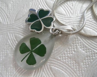 4 Leaf Clover White Cat's Eye Teardrop Pendant with Green 4 Leaf Clover Enamel Charm-Symbolizes Hope,Faith,Love,Luck-Gifts Under 30