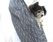 Pet Dog Sling Carrier Grey and White Arrows with Shoulder Pocket