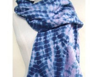 Natural Indigo Dyed Shibori Cotton Scarf