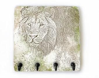 Safari Hooks for Key Organizer, Wall Key Holder, Lion Wall Decor, Lion Key Rack, Key Hook, Safari Animal Decor, Jewelry Hooks (75)