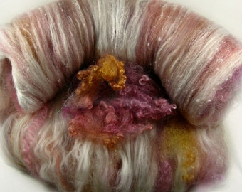 Soft Orchid Peach Wild Card Bling Batt for spinning and felting (4.2 ounces), batt, art batt