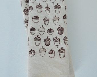 Cloth Napkins, Natural Cotton, Hand Printed, Acorn, Set of 4