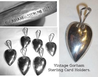 Vintage Gorham Sterling Silver Menu or Name Card Holders. Beautiful Antique Silver Heart Shaped Holders. Set of 6 Holders.