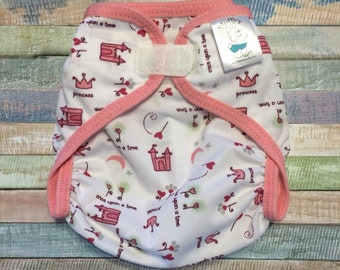 Ready to ship, Large Princess Castle Polyester PUL Waterproof Cloth Diaper Cover with Aplix hook & loop
