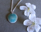 SALE - blue enamel necklace on silver chain