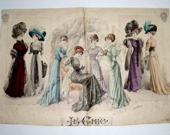 """ANTIQUE FASHIONS PARIS, 23""""x16"""" engraving,print,1907 Edwardian gowns,hats,blue,burgundy,violet,beige,green"""
