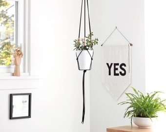 LINEA .02 - Medium Modern Macrame Hanging Planter without bowl - MORE COLORS