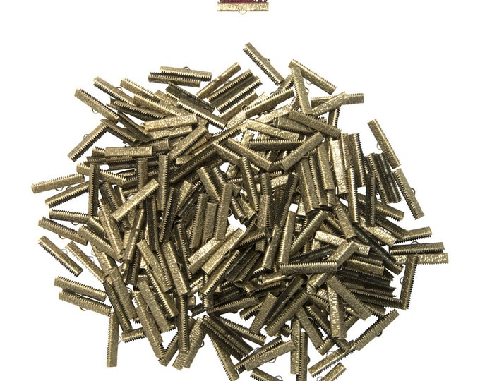 500pcs.  30mm ( 1 3/16 inch )  Antique Bronze Ribbon Clamp End Crimps - Artisan Series