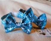 Aqua With White Anchors Bow Tie Collar for Cats