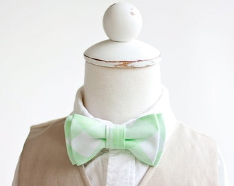"Bow Tie, Boys Bow Tie, Bow Ties, Baby Bow Ties, Bowtie, Bowties, Ring Bearer, Bow ties For Boys, Mint Bow Tie - 1"" Mint Green Gingham Check"