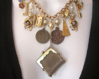 SALE Statement Charm Assemblage Bib Necklace Vintage Repurposed