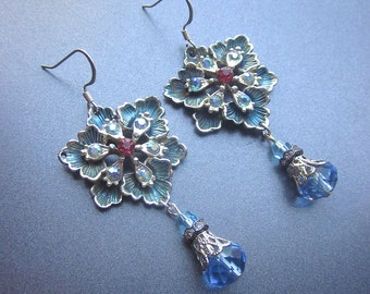 Rhinestone Floral Dangle Earrings Blue Crystals OOAK