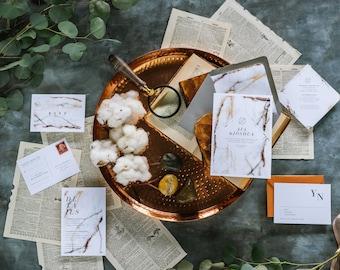 AVA SUITE // Granite Wedding Invitation, Neutral Design, Modern Urban Wedding Invitations, Marble, Organic, Natural, Loft, City , Neutral
