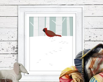 Winter Cardinal and Birch - Modern Bird Art Printable - Instant Download 8x10