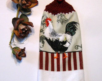 Rooster Hanging Towel, Kitchen supplies, Hostess Gift, Handmade by NormasTreasures