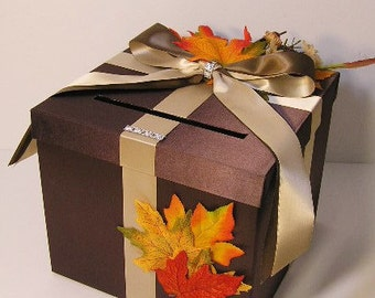 Wedding  Card Box Fall Gift Card Box  Money Box Holder-Customize/made to order (10x10x9)