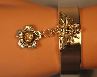 Queen Bee Bracelet , Bee Charm Bracelet , Statement Bee Cuff Bracelet with Flower charm