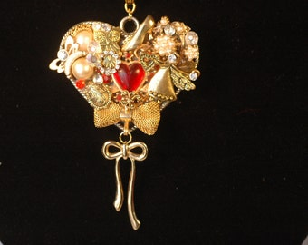 Vintage Jewelry Collage Heart Necklace with Toggle Clasp , Jewelry Art Necklace