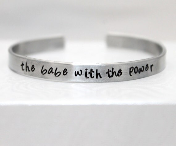 The Babe With The Power, Labyrinth Quote Bracelet, Labyrinth Bracelet, Hand-Stamped Aluminum Jewelry