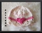 Knitted Hat Pattern Baby Hat Pattern Newborn Hat Pattern Infant Hat Pattern Valentines Baby Hat Heart Baby Hat: VALENTINE CLOCHE