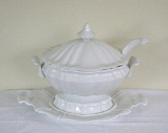 Vintage Red Cliff Ironstone Soup Tureen Lid Underplate Ladle,  All White Heirloom Pattern, Large China Serving Bowl