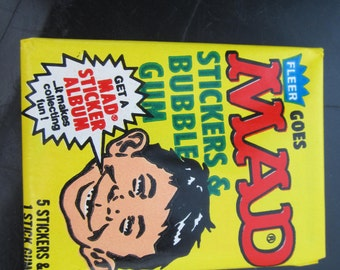Mad Comics Stickers Vintage Early 1980's Wax Pack With Gum  Unopened
