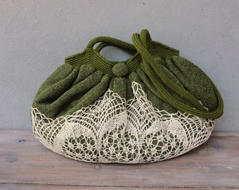 Mori Girl Bag, Good Old Times Vintage Doily, Knit fabric and crocheted Bag