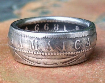 Jamaican One Penny Coin Ring - Jamaica Coin Ring 1899 - Size: 7 1/2