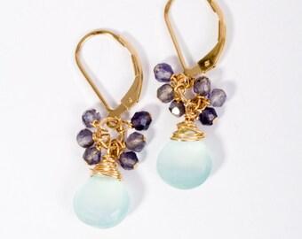 Summer Jewelry, Cluster Earrings, Mint Gemstone Earrings, Gold Cluster Earrings, Fine Jewelry, Artisan Jewelry, Beach Jewelry, Pink Earrings