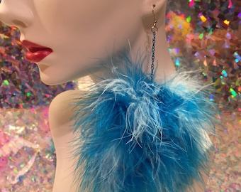 Blue & Light Blue Mix Fluffy Pom Pom Earrings