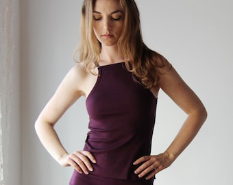 womens wool camisole with high cut neckline - HEARTH - made to order