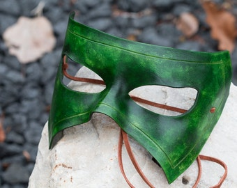 Green Leather Masquerade Mask