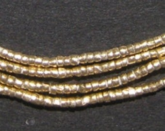 450 Brass Tiny Heishi Ethiopian Beads - African Brass Beads - Tribal Metal - Jewelry Making Supplies - Made in Ethiopia (MET-HSHI-BRS-208)