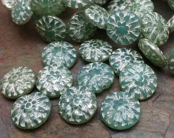14mm Czech Glass Dahlia Flower Beads. 10 beads. Color: High Tide Waters