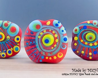 Modern Art Glass - 3 free shaped focal beads in red, blue, greens and yellow  - softly etched -by Michou P. Anderson