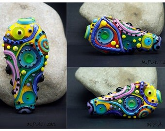 Abstract Modern - Lampwork Focal Bead - Glass Art by Michou P. Anderson