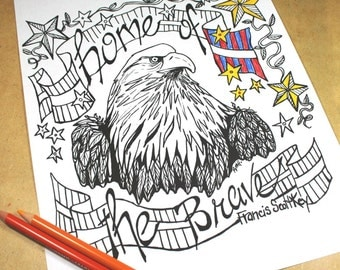 Patriotic Coloring Page . Adult Coloring Page . Digital Download . USA Patriotic Quote . Home of the Brave . Bald Eagle Coloring Page