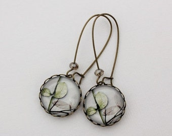 SALE Fresh Modern Leaves Earrings. Gray. Soft Green. White. Gift for her under 25 usd