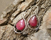 Drop dangle earrings - Sterling silver and ruby earrings - Drop elegant earrings - Genuine ruby earrings