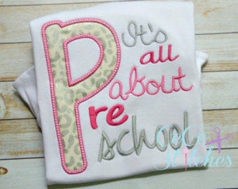 Personalized First Day of School, Its All About Preschool, Embroidered Shirt, Personalized, Sale,Girls Preschool 1st Day of School