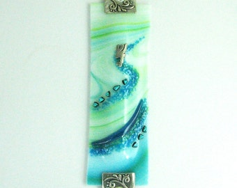 Swirly Turquoise and Green Mezuzah Case