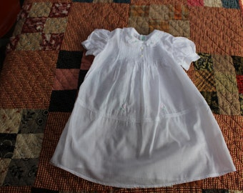 Infant Gown White Cotton Dress Lace Embroidered Newborn layette Baby VINTAGE by Plantdreaming