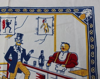Bar Scene Apron Printed Pretzel Border Beer VINTAGE by Plantdreaming