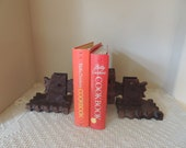 Unusual Gothic Mediterranean Dark Wood Bookends. Dungeons and Dragons Style Bookends. Unusual Solid Wood Wall Shelves