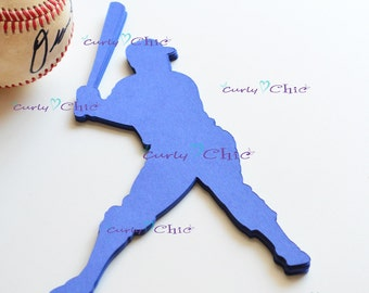 """12 Baseball Player Centerpiece 8"""" tall - Baseball Die cut Table Toppers -Baseball Silhouette Table Decoration - Baseball Die cut paper"""