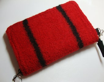Smart phone wallet in red felted wool