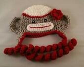 Newborn Sock monkey hat, crochet monkey hat, christmas sock monkey hat, christmas photo prop baby girl hat
